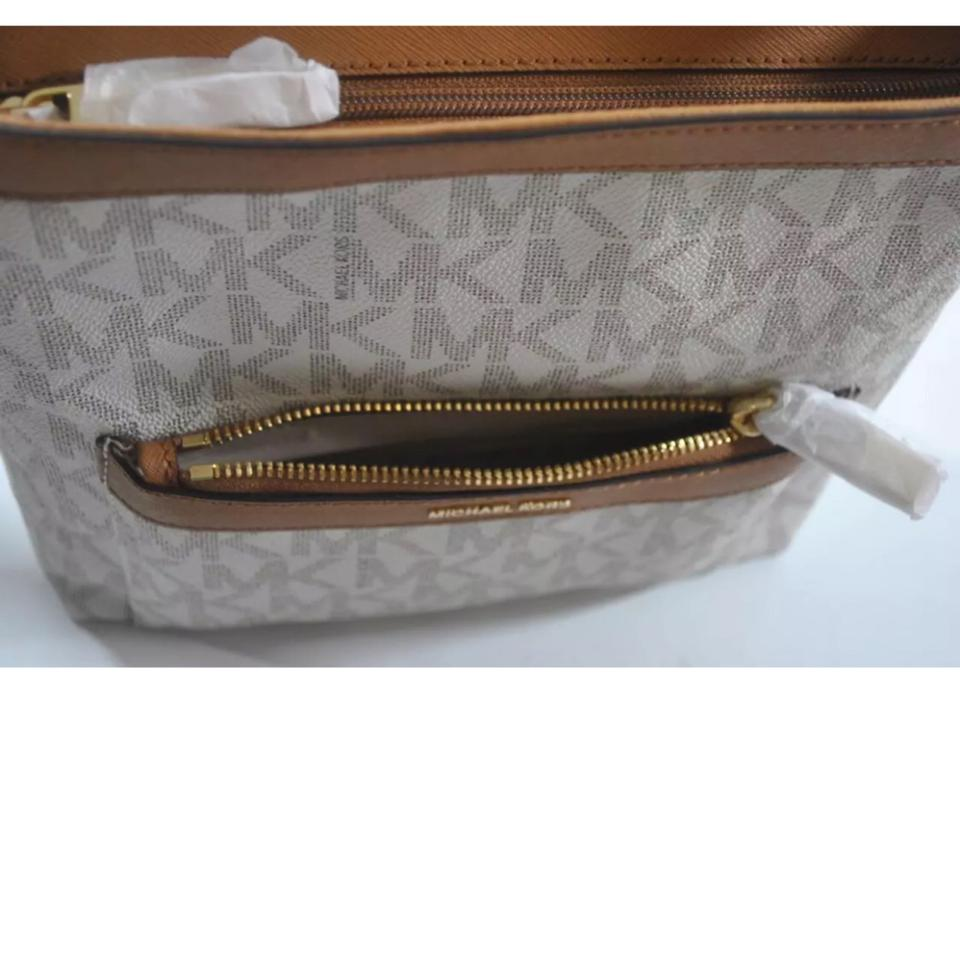 f65aece3fba4 Michael Kors Morgan Medium Top Zip Crossbody Vanilla Pvc Weekend/Travel Bag  - Tradesy