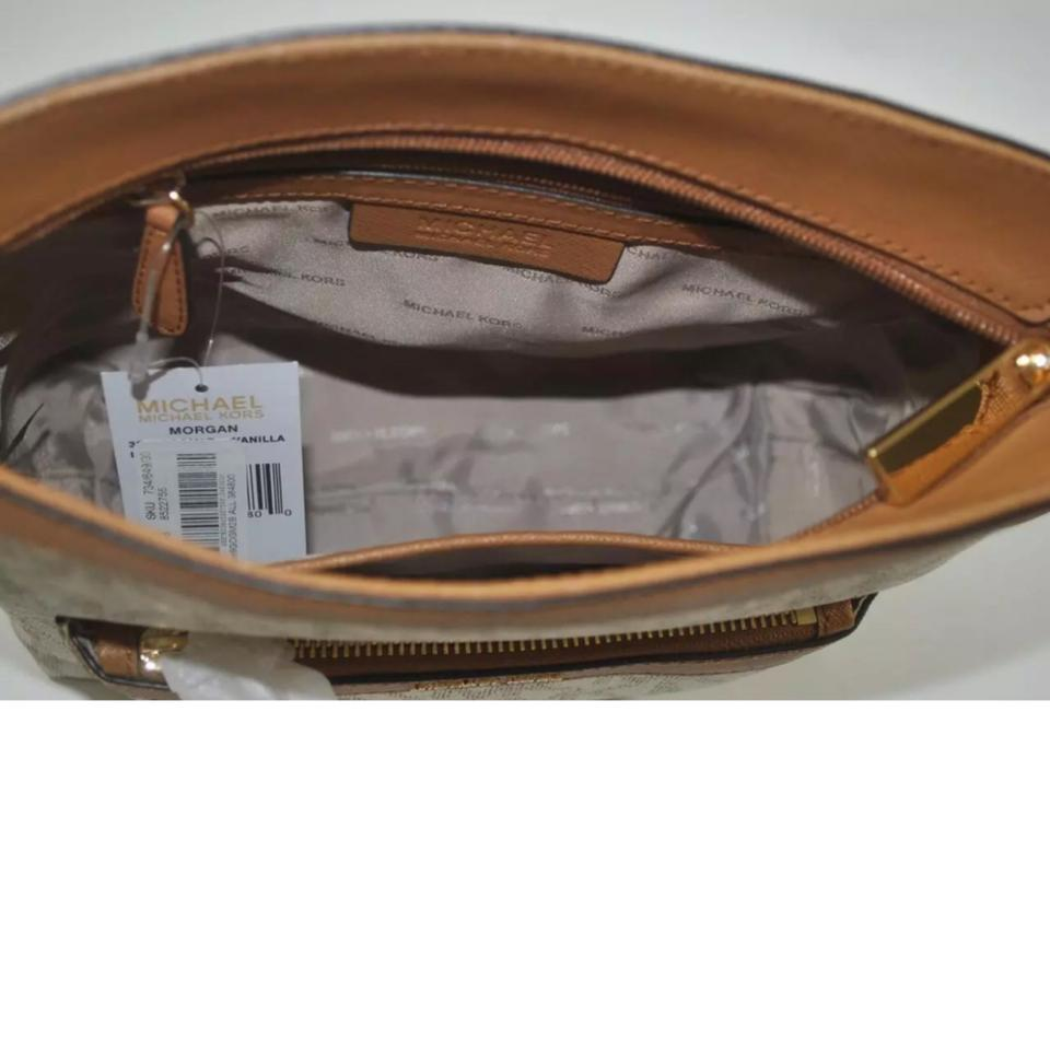 15ae985aaf8a Michael Kors Morgan Medium Top Zip Crossbody Vanilla Pvc Weekend ...