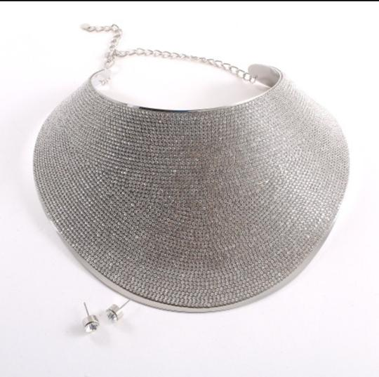 Silver Large Crystal Choker Necklace Jewelry Set Image 1