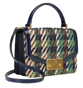 Tory Burch Winter Top Handle Tweed Patent Leather Holiday Tote in Multicolor