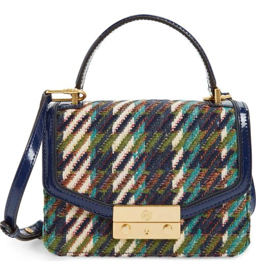 Tory Burch Winter Top Handle Tweed Patent Leather Holiday Tote in Multicolor Image 1