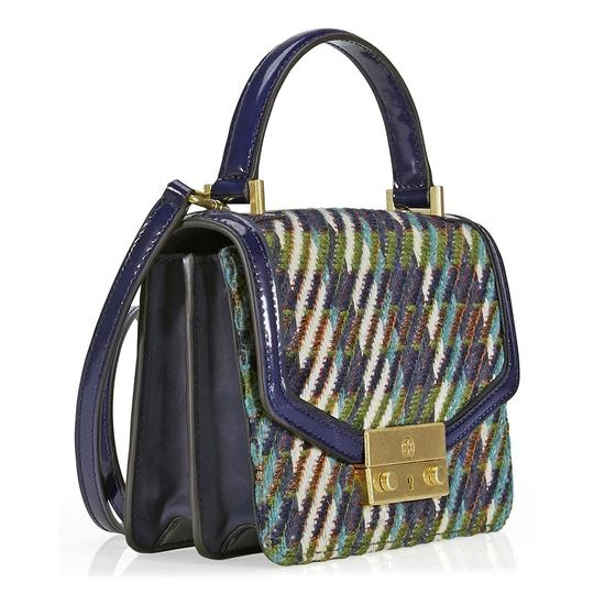 Tory Burch Winter Top Handle Tweed Patent Leather Holiday Tote in Multicolor Image 11