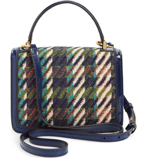 Tory Burch Winter Top Handle Tweed Patent Leather Holiday Tote in Multicolor Image 2