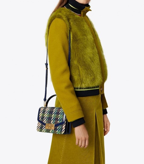 Tory Burch Winter Top Handle Tweed Patent Leather Holiday Tote in Multicolor Image 3