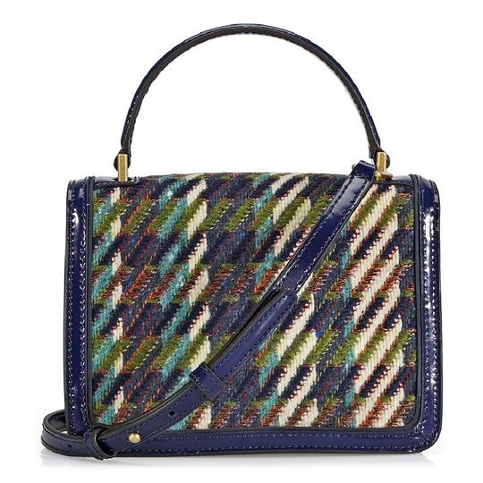Tory Burch Winter Top Handle Tweed Patent Leather Holiday Tote in Multicolor Image 8