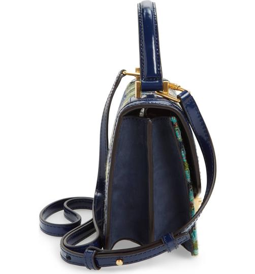Tory Burch Winter Top Handle Tweed Patent Leather Holiday Tote in Multicolor Image 9