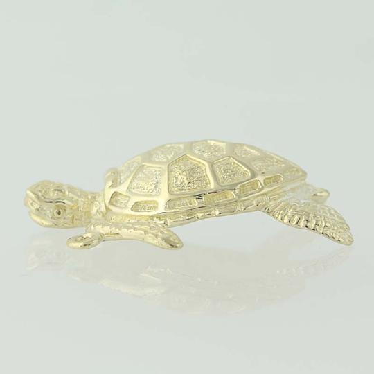Other Turtle Pendant - 14k Yellow Gold Ocean Life Textured Finish N7561 Image 2