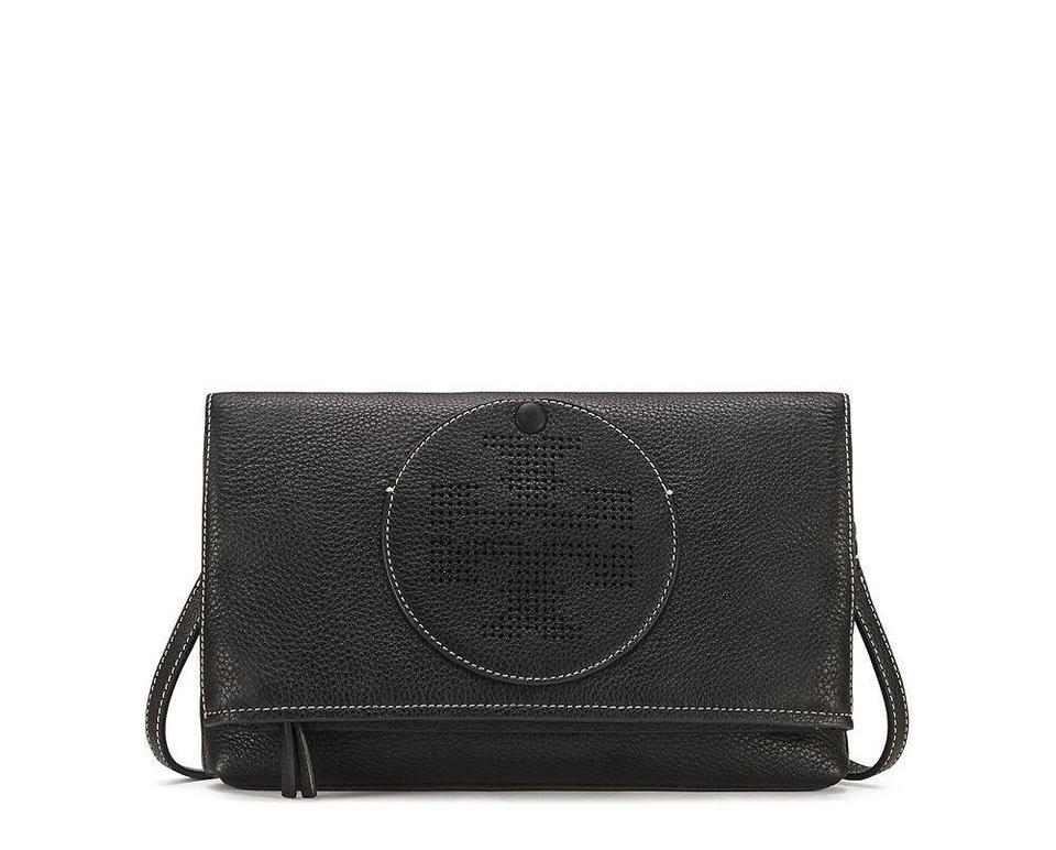 5e1f80800fb Tory Burch Perforated Logo Fold-over Black Leather Cross Body Bag ...