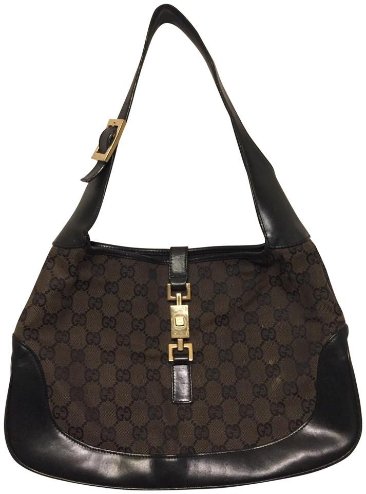 b6487e913d9 Gucci Jacki O Black  W  Leather Trim Iconic Brown Canvas Hobo Bag ...