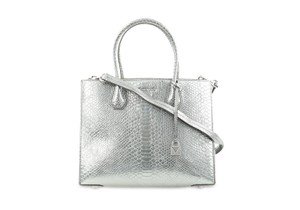 MICHAEL Michael Kors Mercer Leather Metallic Pewter Tote in Silver