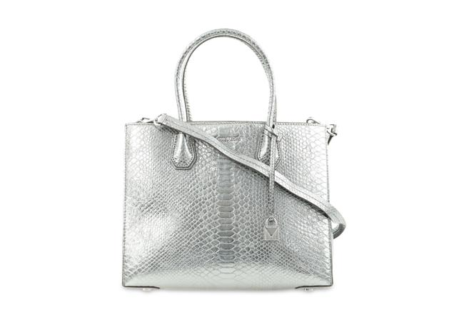 Item - Mercer Large Convertibe Pewter Silver Leather Tote