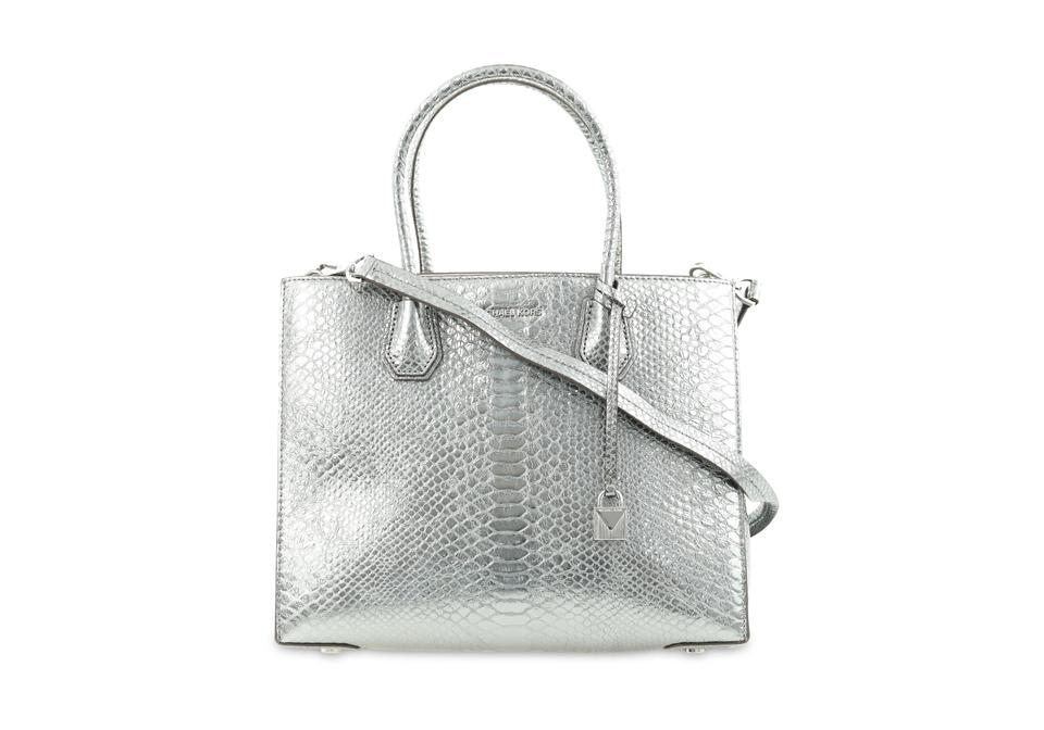 4a192b3f0c21 MICHAEL Michael Kors Mercer Large Convertibe Pewter Silver Leather Tote
