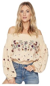 Free People Off The Shoulder Boho Top Yellow