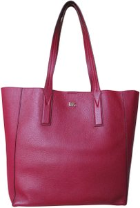 Michael Kors Mk Signature Pebbled Leather Large Gold-tone Hardware Tote in Maroon