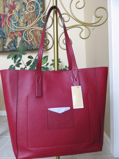 Michael Kors Mk Signature Pebbled Leather Large Gold-tone Hardware Tote in Maroon Image 2