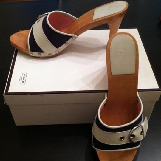 Coach Navy Blue w/ White Buckle Mules Image 1