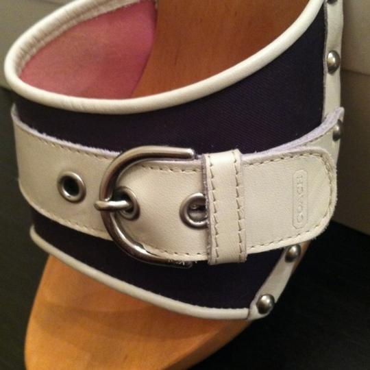 Coach Navy Blue w/ White Buckle Mules Image 2