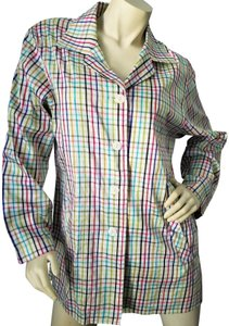 Parisian Signature Raw Silk Lightweight Jacket Plaid Vintage Chic Button Down Shirt Red, Navy, black, greens and teal on ivory