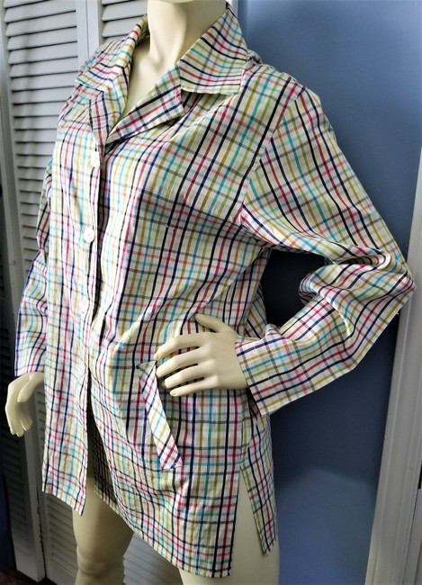 Parisian Signature Raw Silk Lightweight Jacket Plaid Vintage Chic Button Down Shirt Red, Navy, black, greens and teal on ivory Image 2