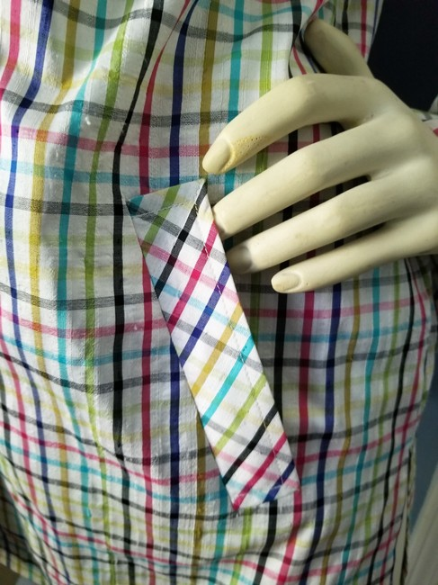 Parisian Signature Raw Silk Lightweight Jacket Plaid Vintage Chic Button Down Shirt Red, Navy, black, greens and teal on ivory Image 4