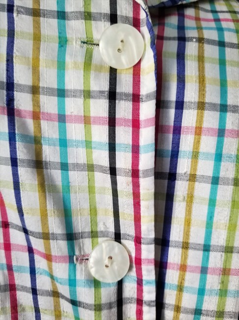 Parisian Signature Raw Silk Lightweight Jacket Plaid Vintage Chic Button Down Shirt Red, Navy, black, greens and teal on ivory Image 6