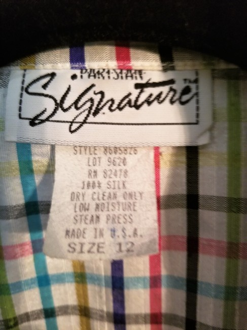 Parisian Signature Raw Silk Lightweight Jacket Plaid Vintage Chic Button Down Shirt Red, Navy, black, greens and teal on ivory Image 8