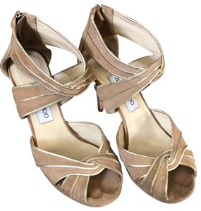 Jimmy Choo Beige / Tan with gold trim Formal