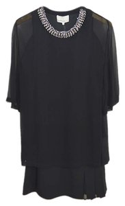 3.1 Phillip Lim short dress BLACK/ TEAL/ SILVER Embellished Silk Cotton Fall Winter on Tradesy