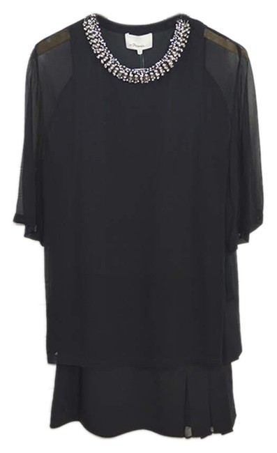 3.1 Phillip Lim short dress BLACK/ TEAL/ SILVER Embellished Silk Cotton Fall Winter on Tradesy Image 0