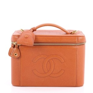 Chanel Cosmetic Case Leather Satchel in orange