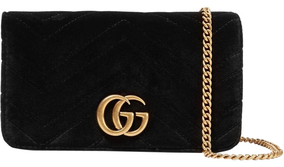 8d169ee46df7 Gucci Marmont Gg Micro Quilted Shoulder Black Velvet and Leather ...