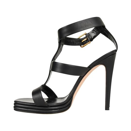 Saint Laurent Ysl Heels Ankle Strap Black Platforms Image 2