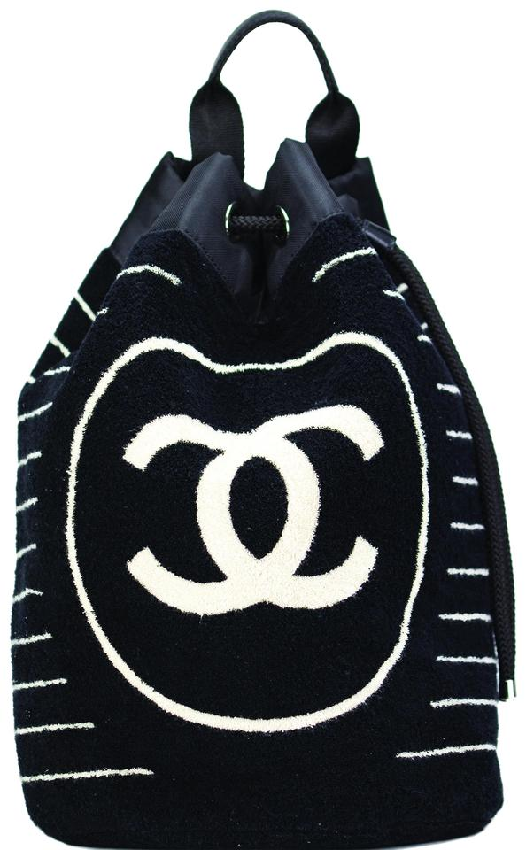 Chanel Terrycloth Terry Cloth Towel Summer Black and White Beach Bag ... 8d0e424f2758f