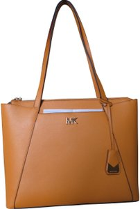 Michael Kors Cross Grain Leather Maddie Gold Hardware Tote in Marigold