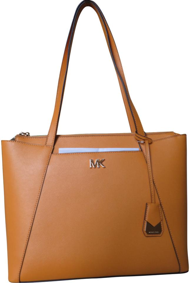 b339706a99c79b Michael Kors Cross Grain Leather Maddie Gold Hardware Tote in Marigold  Image 0 ...