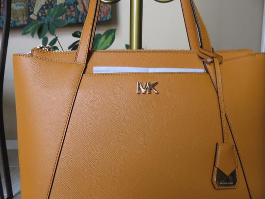 Michael Kors Cross Grain Leather Maddie Gold Hardware Tote in Marigold Image 1