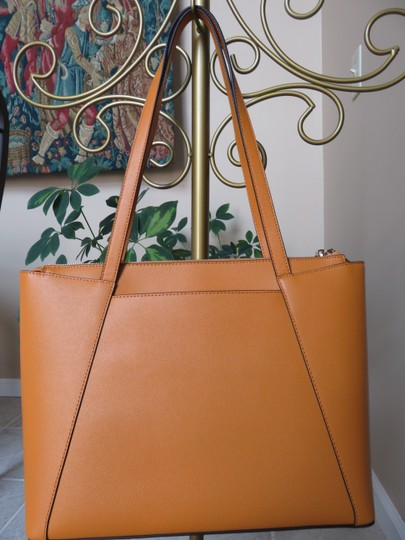 Michael Kors Cross Grain Leather Maddie Gold Hardware Tote in Marigold Image 2