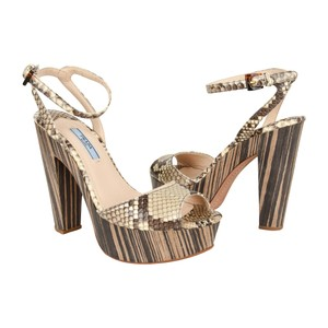 Prada Ankle Strap High Heels Snakeskin Open Toe Multi Platforms