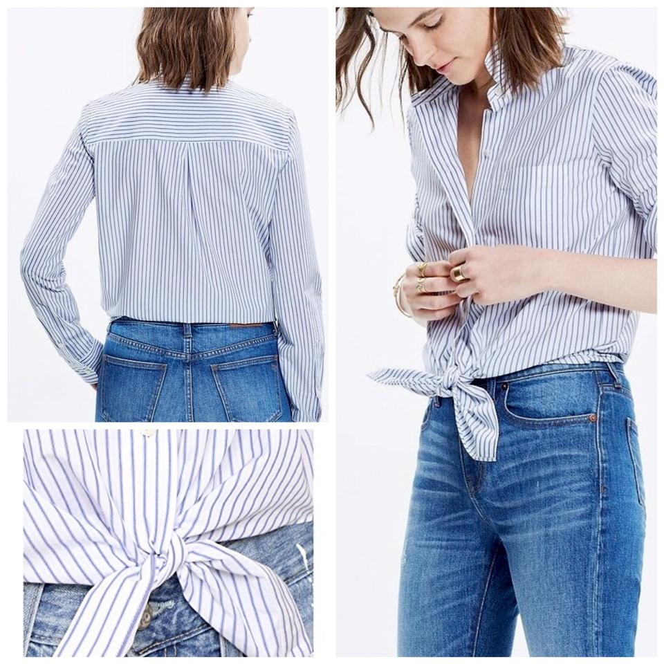 e1cca0010 Madewell White/Blue Front Shirt In Stripes M Button-down Top Size 8 ...
