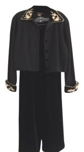Classique Holiday Party Black velvet embroidered knit top and velvet wide leg pants
