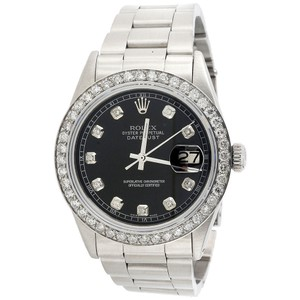 Rolex Mens Rolex 36mm DateJust Diamond Watch Steel Band Black Dial 2 CT