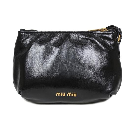 Miu Miu Prada Vitello Clutch Wristlet in Black Image 3