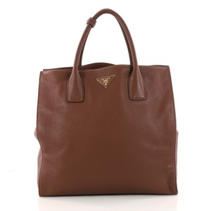 Prada Leather Tote in dark brown