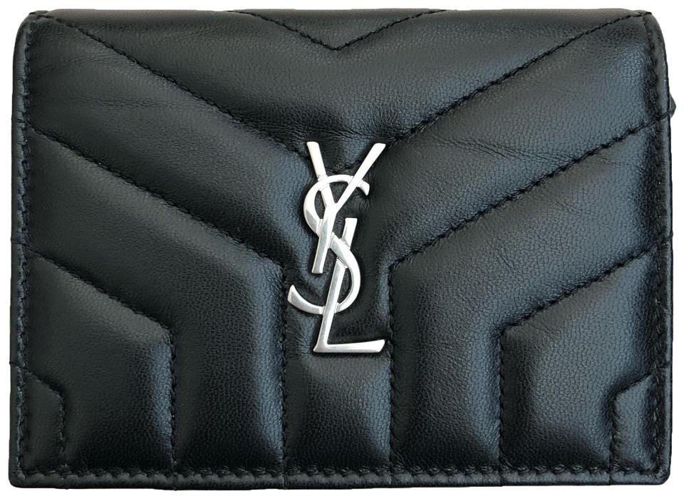 2bc220071c Saint Laurent Black Monogram Loulou Card Case In MatelassÉ