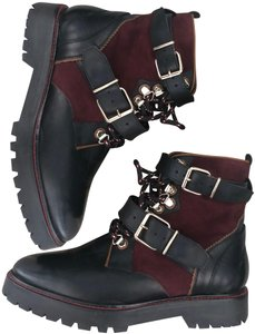 Burberry Combat Maroon Laceup Lace Up Black Burgundy Boots