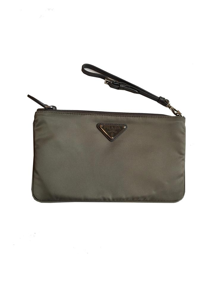b4cb72560a04 Prada Gray Clutch Women's Nylon Wristlet 1nh545 Cosmetic Bag - Tradesy