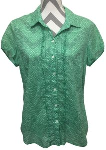 Eddie Bauer Ruffled Cap Sleeves Button Down Shirt Green & White
