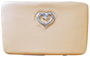 Heart's Collection Brown or tan leather hardcase wallet with heart