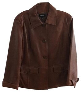 Ellen Tracy Luggage Brown Leather Jacket