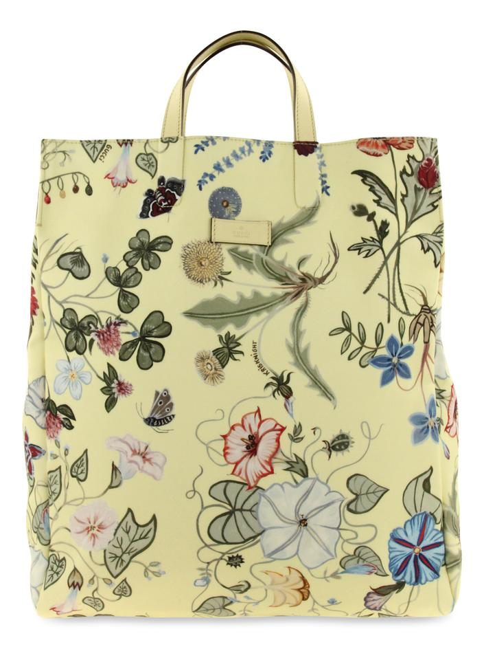 8fac6f0c59e Gucci Floral Canvas G-active Knight Tall Tote in Yellow Image 0 ...